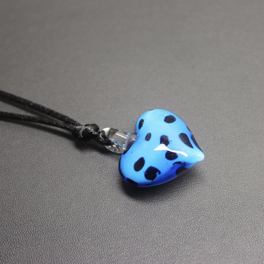 Lindy Hop Dalmation Heart Pendant Necklace (Sky Blue)