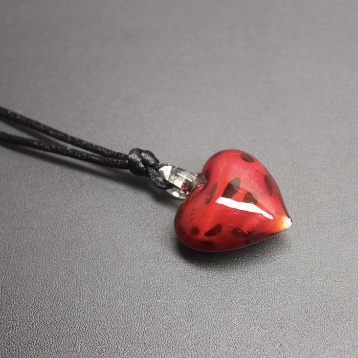 Lindy Hop Dalmation Heart Pendant Necklace (Strawberry)