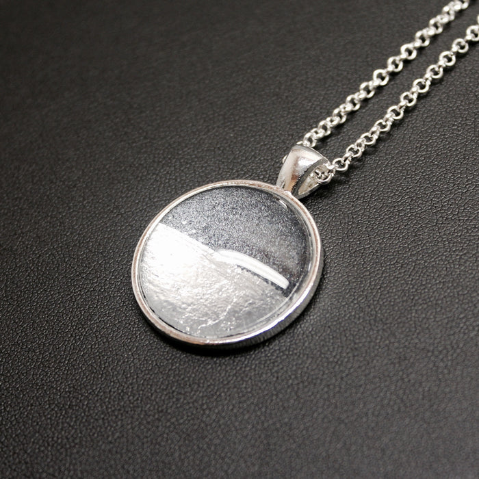 Slow Rhythm Silver Linings Medium Pendant Necklace (Silver & Charcoal)