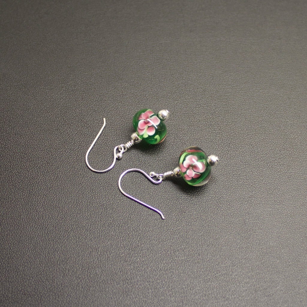 Viennese Floral Lampwork Earrings (Green/Pink)