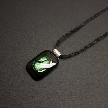 Jazz Dichroic Glass Pendant Necklace (Emerald Eye) With Cord
