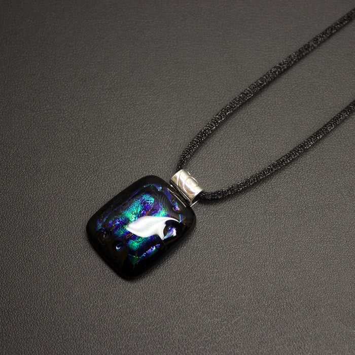 Jazz Dichroic Glass Pendant Necklace (Paua) With Cord