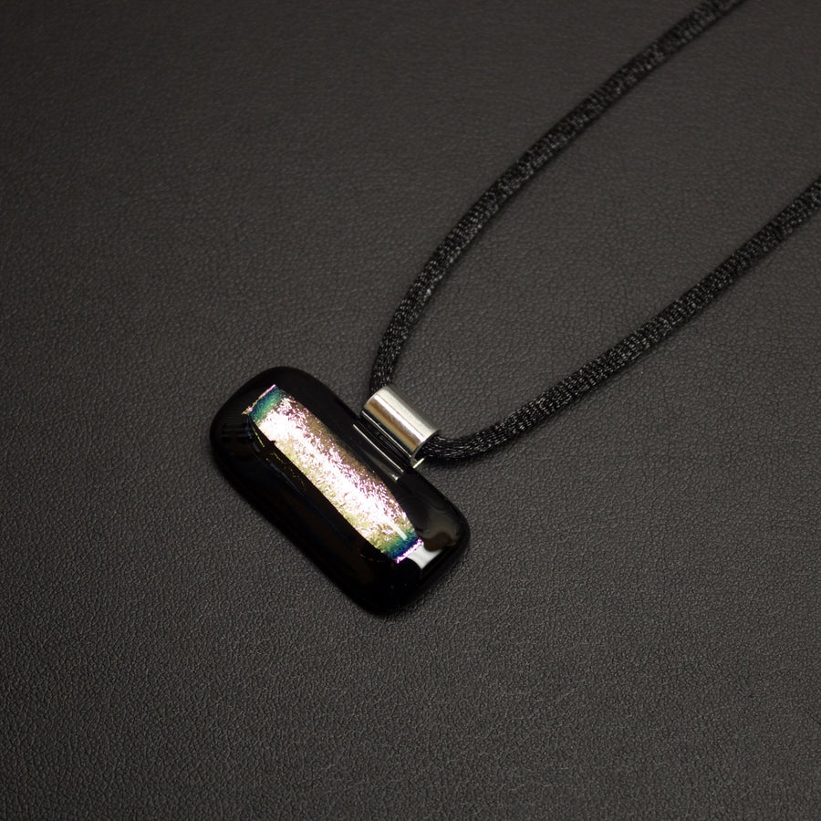 Jazz Dichroic Glass Pendant Necklace (Horizontal Pink) With Cord