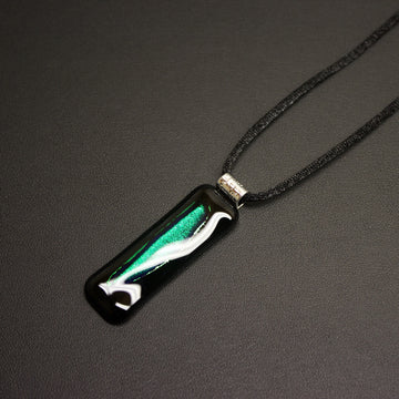 Jazz Dichroic Glass Pendant Necklace (Deep Emerald) With Cord