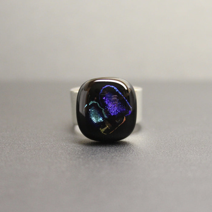 Jazz Handcrafted Dichroic Glass Ring (Purple/Teal)