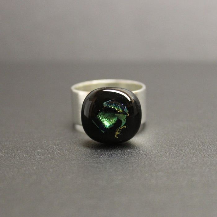 Jazz Handcrafted Dichroic Glass Ring (Emerald Depths)