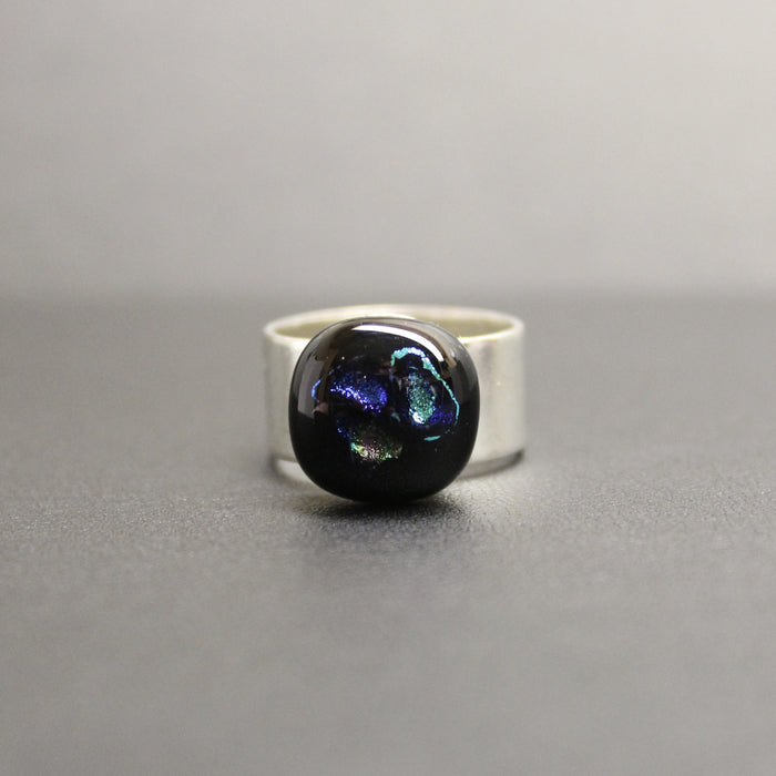 Jazz Handcrafted Dichroic Glass Ring (Multi)