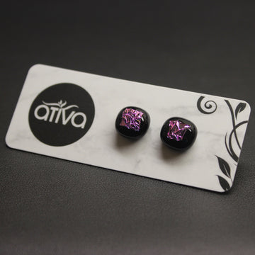 Jazz Handcrafted Dichroic Glass Stud Earrings - Pink Crackle