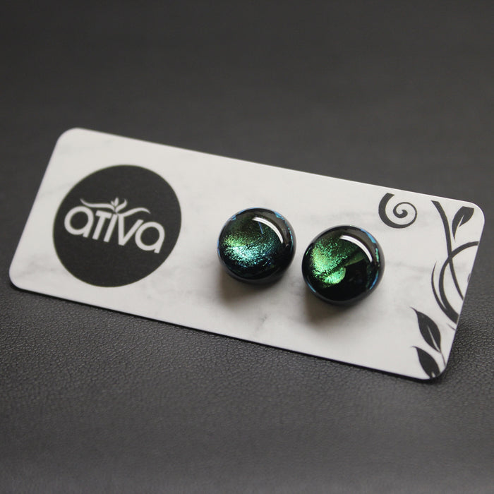 Jazz Handcrafted Dichroic Glass Stud Earrings - Emerald