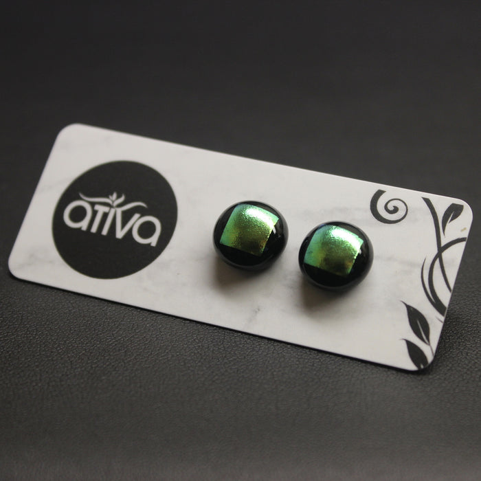 Jazz Handcrafted Dichroic Glass Stud Earrings - Lemon.& LIme
