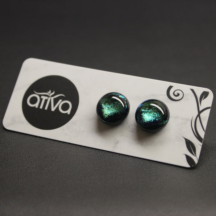 Jazz Handcrafted Dichroic Glass Stud Earrings - Jewel