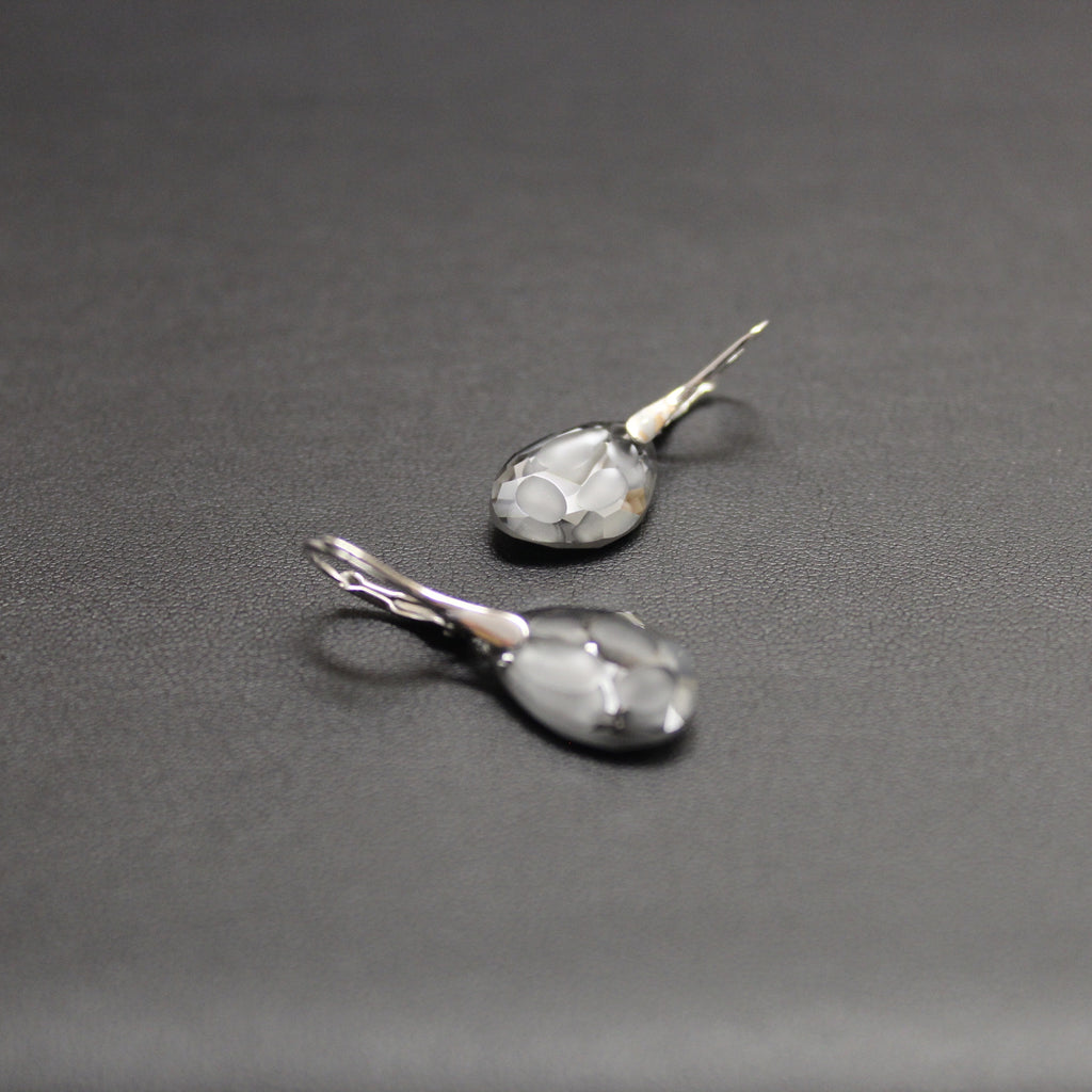 Rumba Swarovski Radiolarian Drop Earrings (Silver Nights)