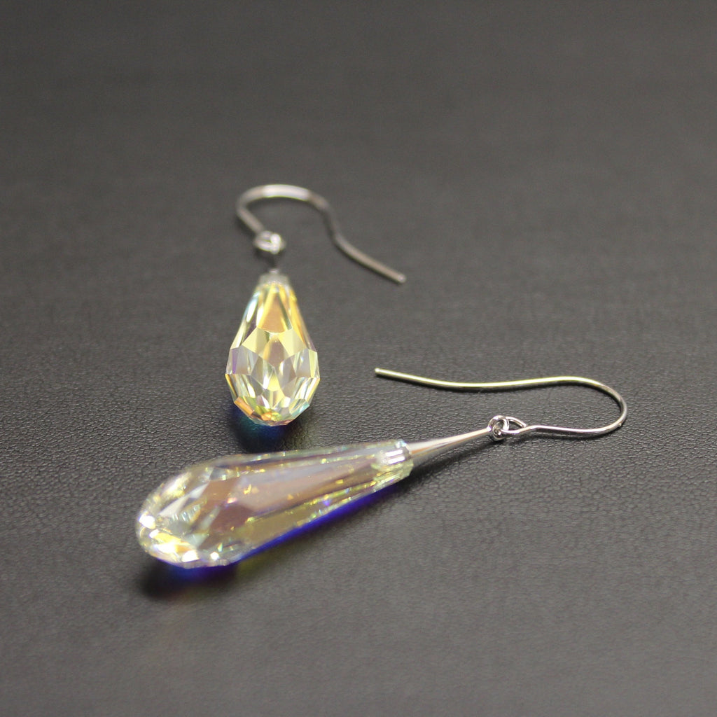 Ceroc Swarovski Faceted Long Droplet Earrings (Aurora Borealis)