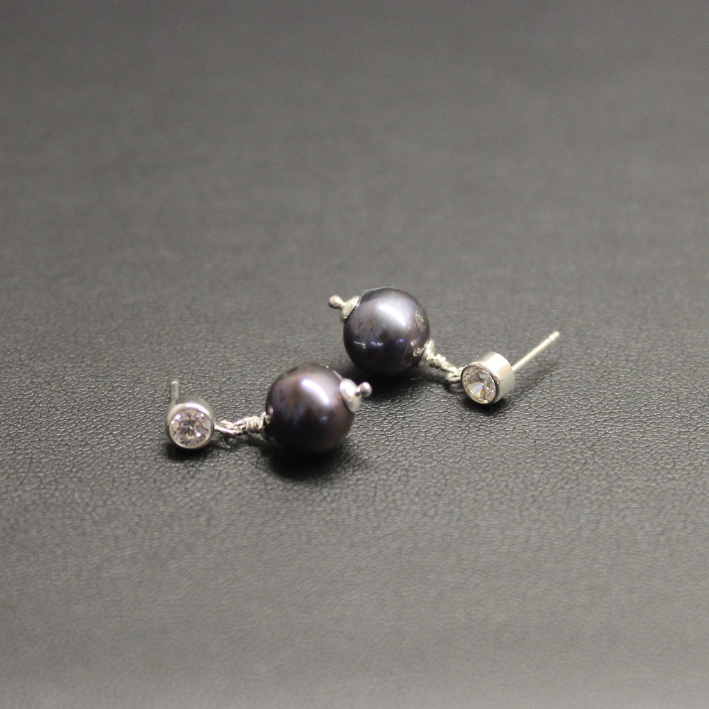 Ballet Sterling Silver CZ & Peacock Pearl Drop Stud Earrings