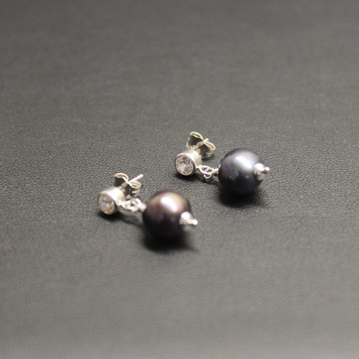 Ballroom Sterling Silver CZ & Peacock Pearl Drop Stud Earrings