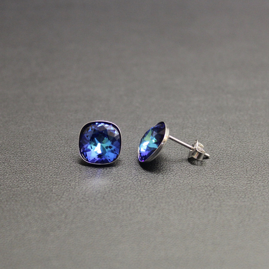 Ceroc Sterling Silver 10mm Stud Earrings (Bermuda Blue)