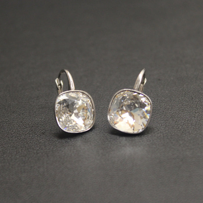 Ceroc Sterling Silver Lever Back 10mm Earrings (Crystal Clear)