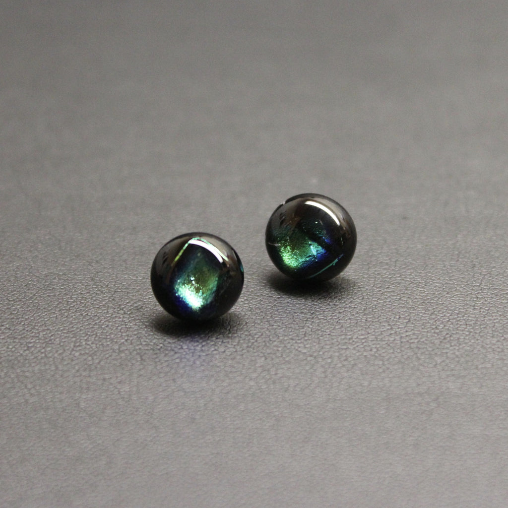 Jazz Handcrafted Dichroic Glass Stud Earrings - Treasure