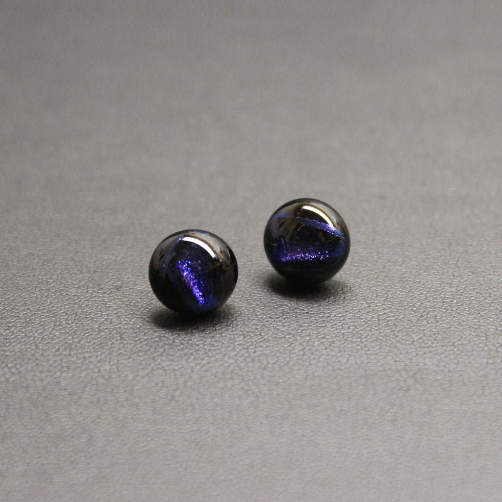 Jazz Handcrafted Dichroic Glass Stud Earrings - Shooting Star