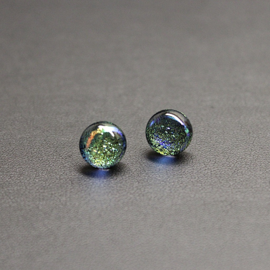 Jazz Handcrafted Dichroic Glass Stud Earrings - Crystal Ball