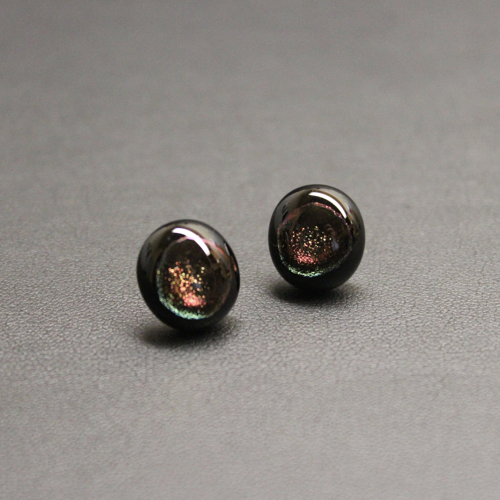 Jazz Handcrafted Dichroic Glass Stud Earrings - Embers