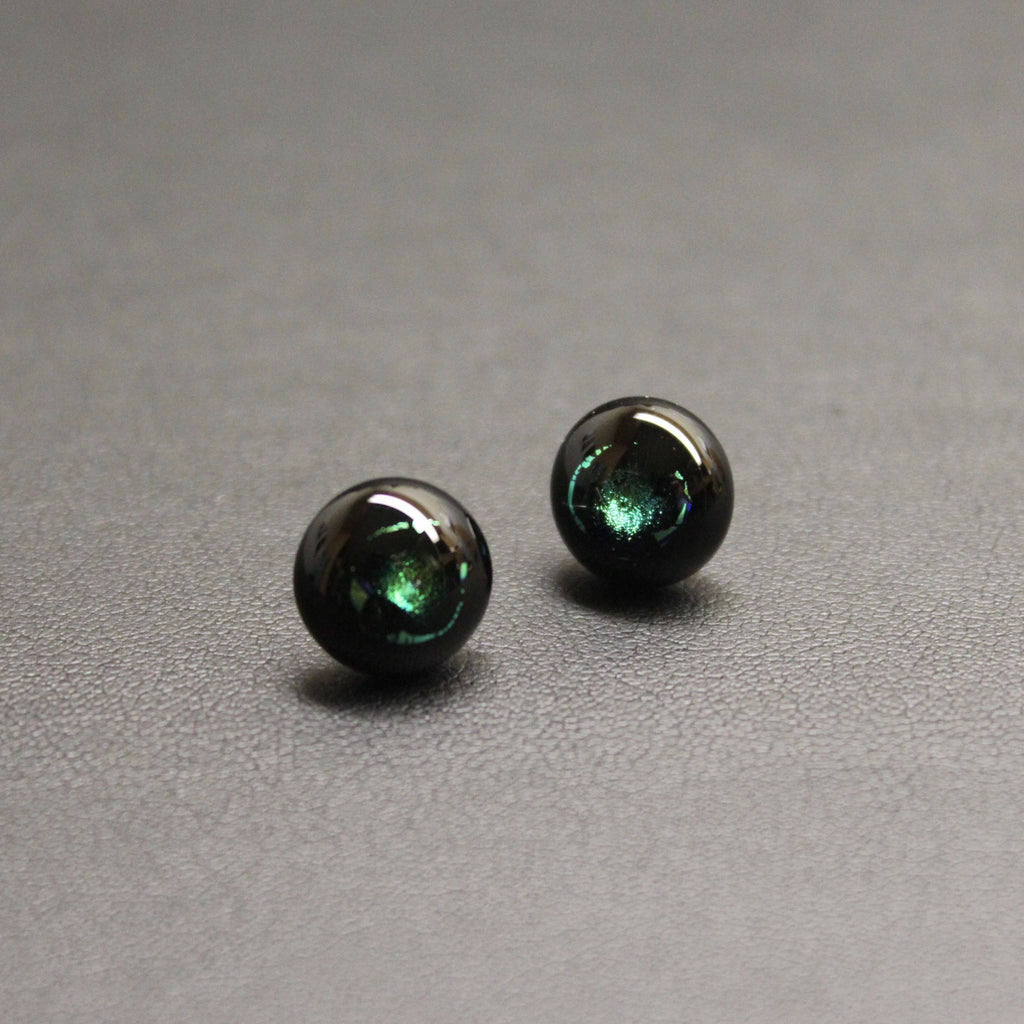 Jazz Handcrafted Dichroic Glass Stud Earrings - A Glow of Green
