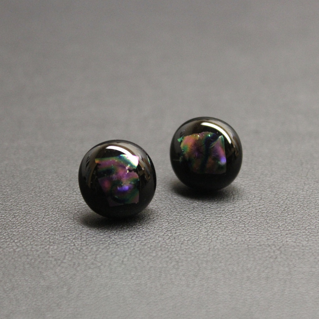 Jazz Handcrafted Dichroic Glass Stud Earrings - Reflections