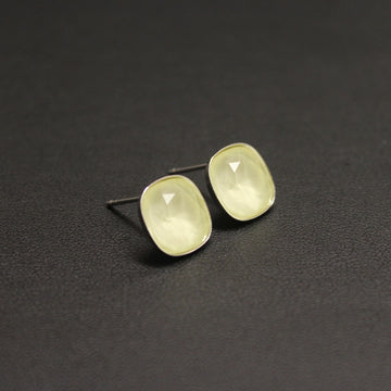 Ballet Frosted Sterling Silver 10mm Stud Earrings (Pastel Yellow)