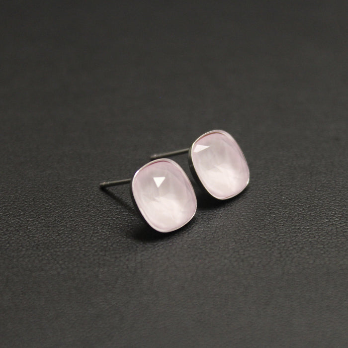 Ballet Sterling Silver 10mm Stud Earrings (Pastel Pink)