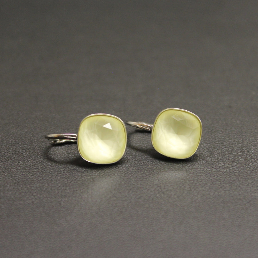 Ballet Frosted Sterling Silver Lever Back 10mm Earrings (Pastel Yellow)