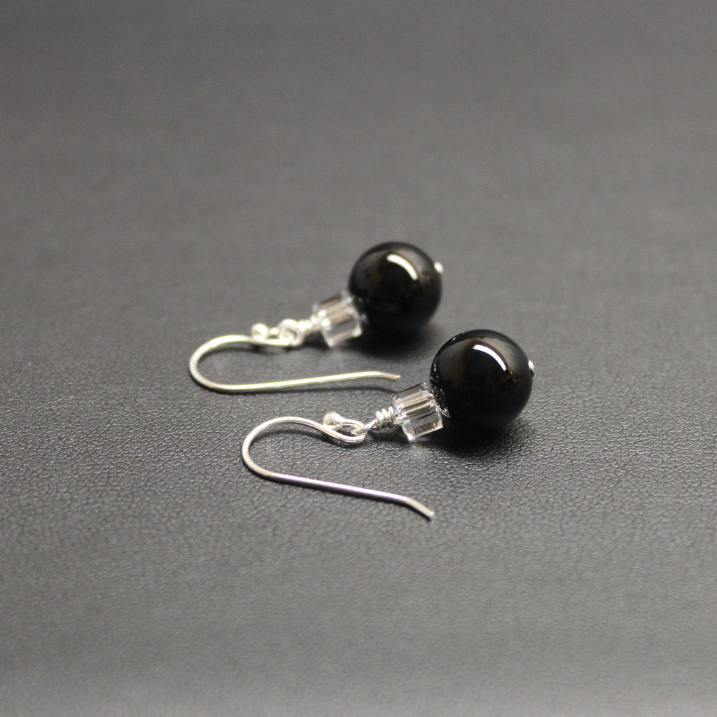 Tango Swarovski Cube/Gemstone Earrings (Onyx)