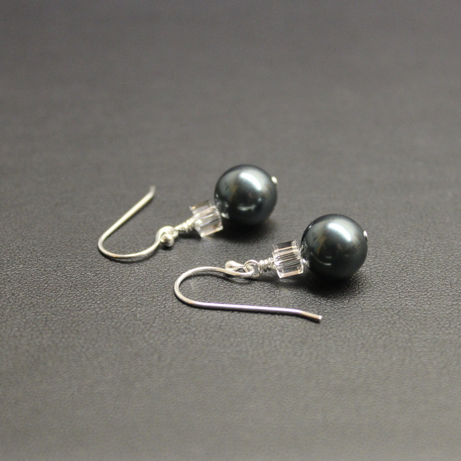 Tango Swarovski Cube/Pearl Earrings (Tahitian)