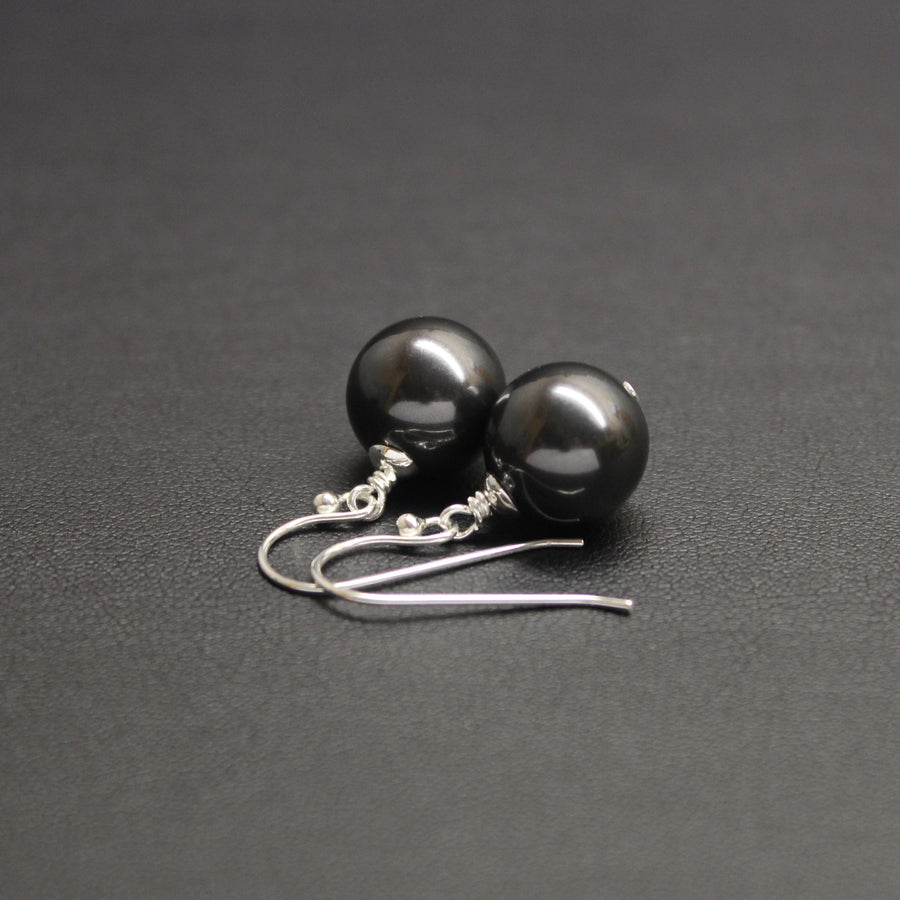 Vogue Sterling Silver Bud Drop Pearl Earrings (Charcoal)