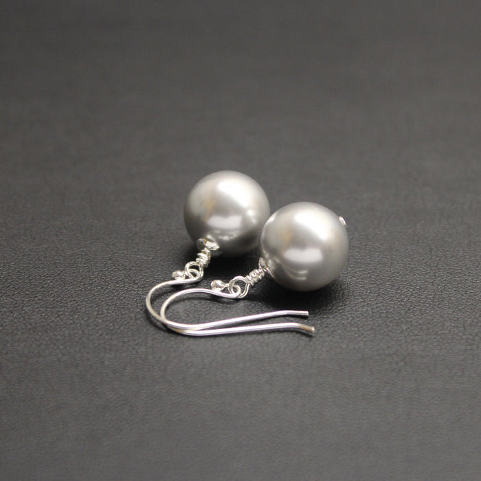 Vogue Sterling Silver Bud Drop Pearl Earrings (Light Grey)