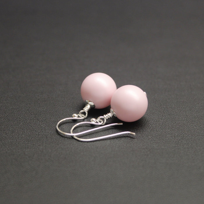 Vogue Bud Drop Pearl Earrings (Pastel Pink)