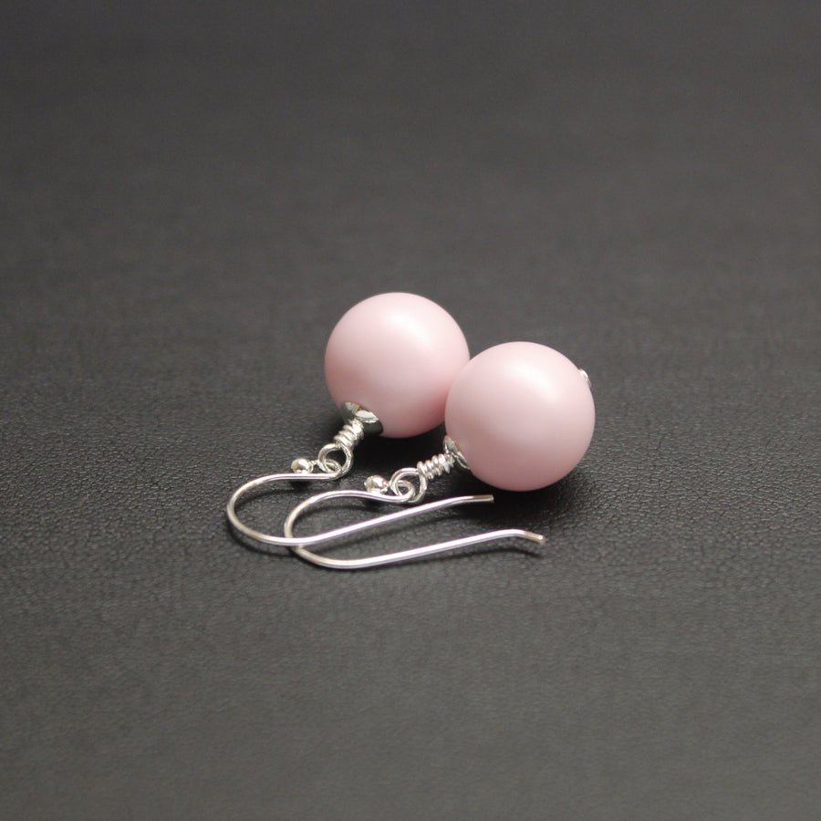 Ballet Bud Drop Pearl Earrings (Pastel Pink)