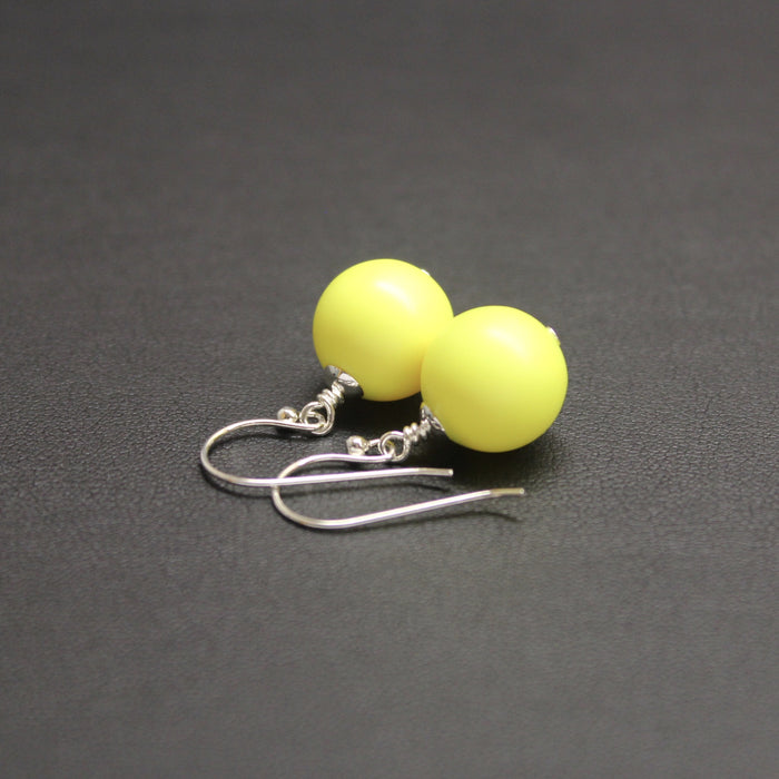 Flamenco Bud Drop Pearl Earrings (Bright Yellow)
