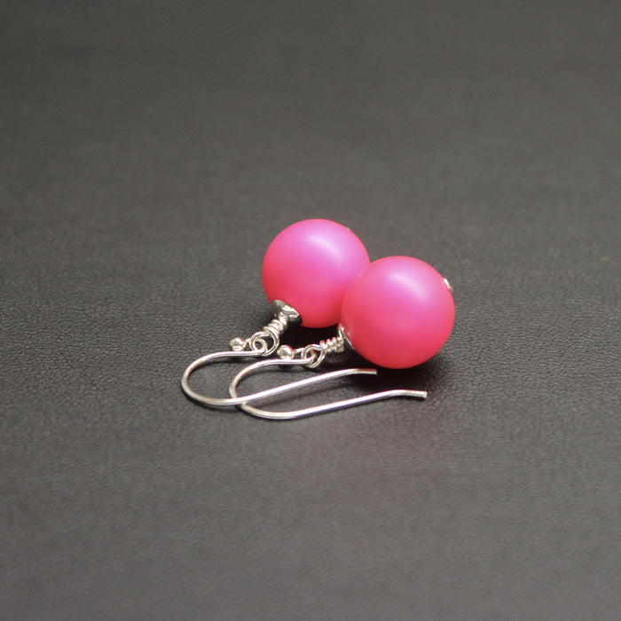 Flamenco Bud Drop Pearl Earrings (Hot Pink)