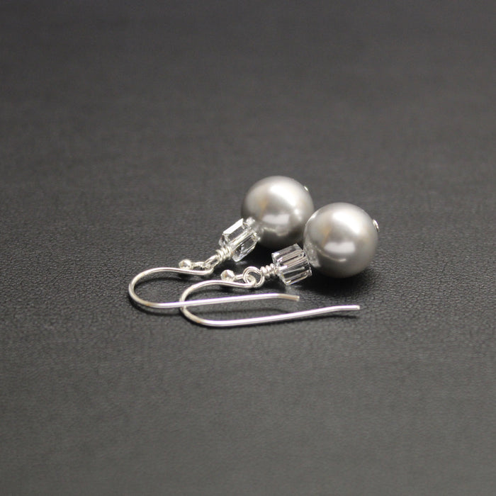 Tango Swarovski Cube/Pearl Earrings (Silver)