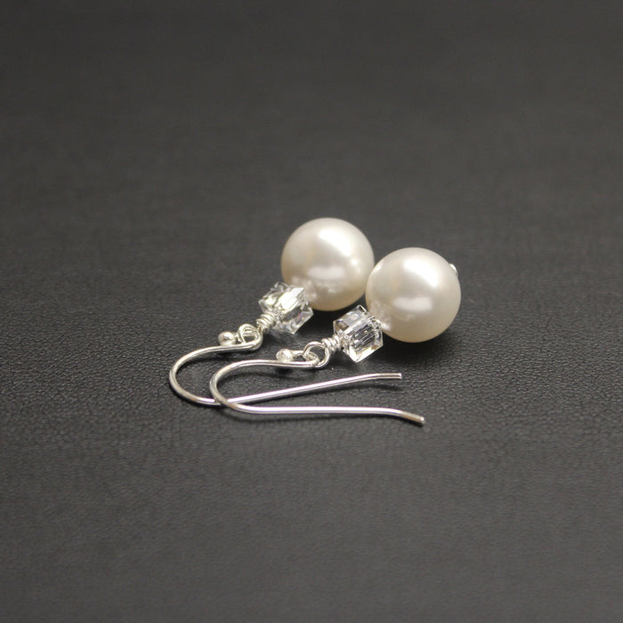 Tango Swarovski Cube/Pearl Earrings (White)