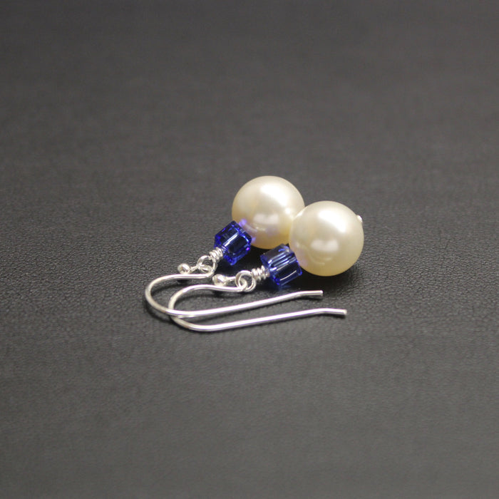 Tango Swarovski Cube/Pearl Earrings (Sapphire & Cream)