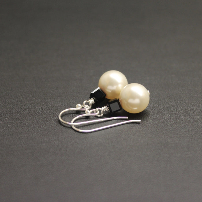 Tango Swarovski Cube/Pearl Earrings (Jet & Cream)