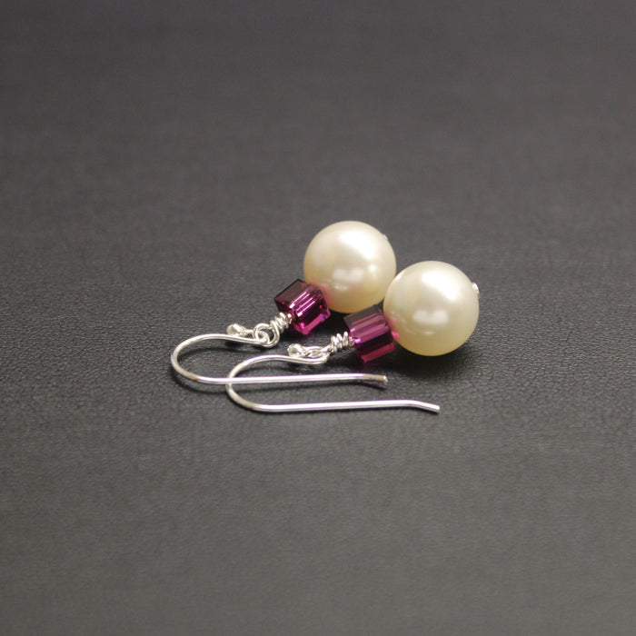 Tango Swarovski Cube/Pearl Earrings (Fuchsia & Cream)