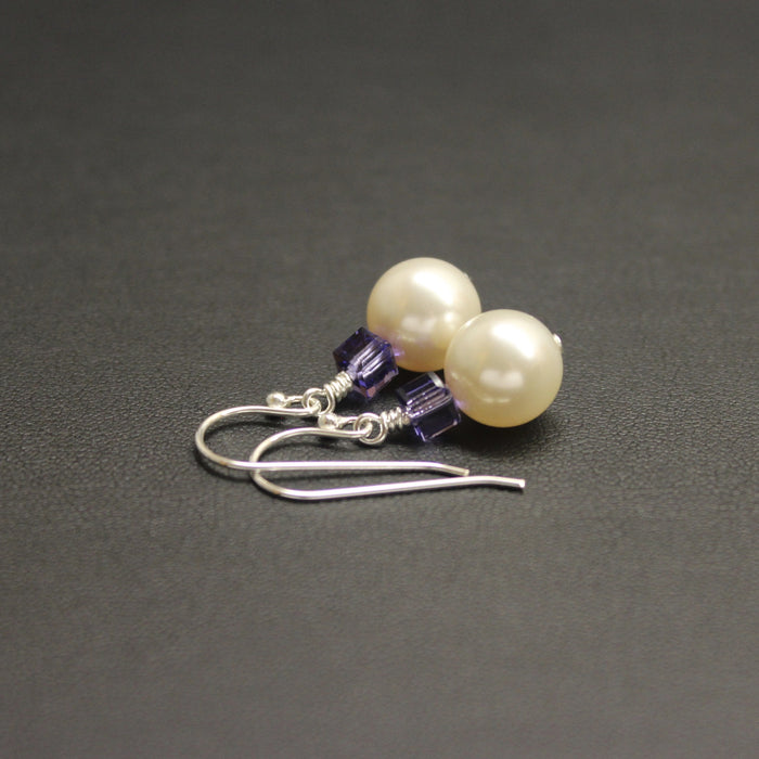 Tango Swarovski Cube/Pearl Earrings (Tanzanite & Cream)