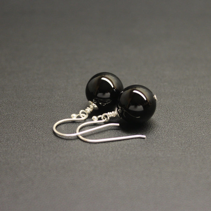 Vogue Sterling Silver Bud Drop Gem (Black Onyx) Earrings