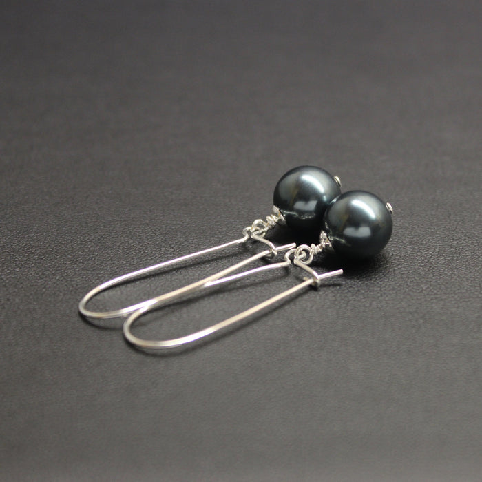 Vogue Elongated Pearl Drop Earrings (Tahitian)