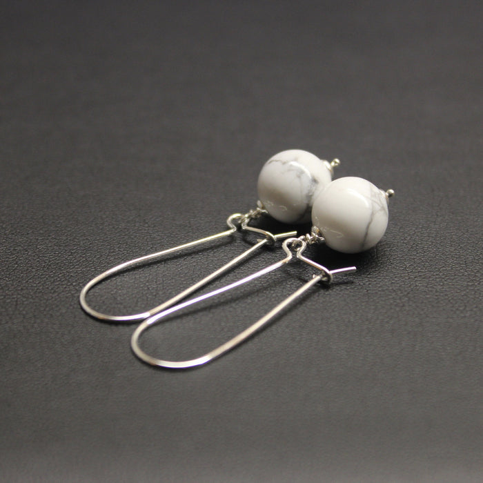 Vogue Long Sterling Silver & Gem Drop Earrings (Marble Howlite)