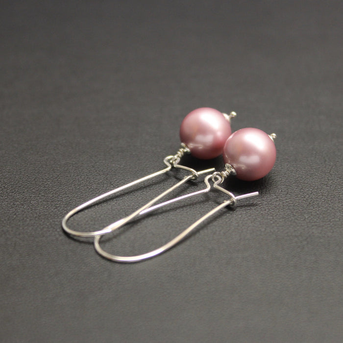 Vogue Long Sterling Silver & Pearl Drop Earrings (Pink)
