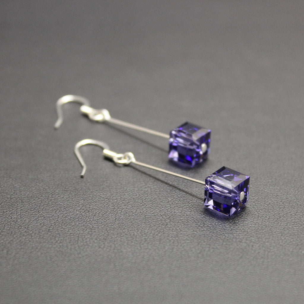 Tango Swarovski Cube Drop Earrings (Tanzanite)