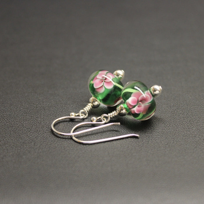 Viennese Floral Lampwork Earrings (Green)